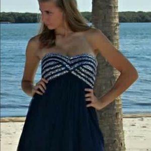 Sequin navy blue prom dress size 7 juniors